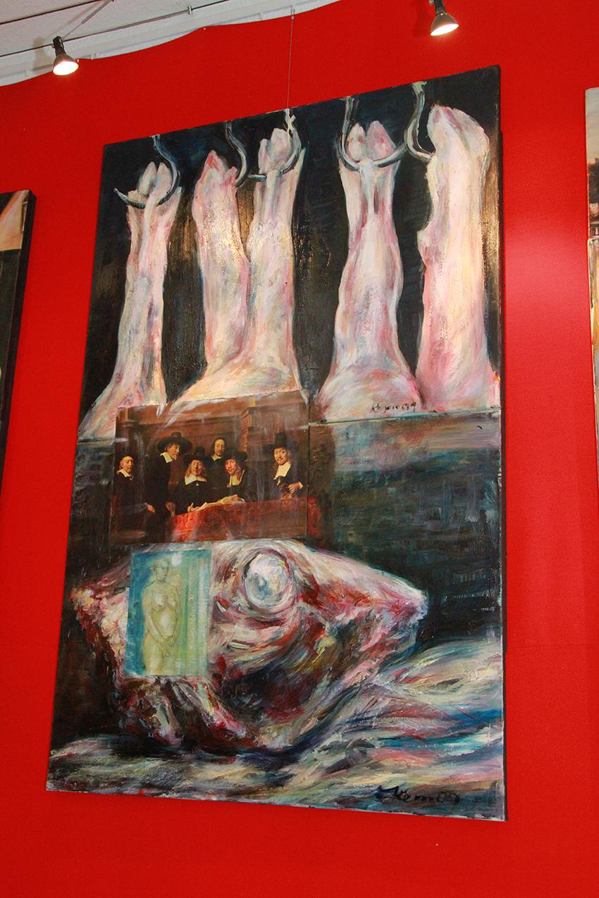 """Das Gemälde """"Die treibenden Kräfte"""" vor roter Wand"""