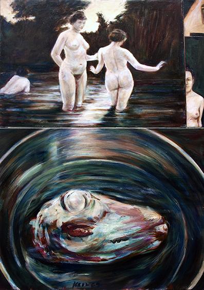 """""""Fleisch und Akte"""", collagiertes Gemälde"""