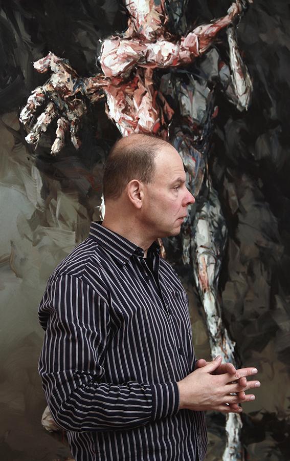 Eberhard Bitter im Gespräch vor seinem Gemälde
