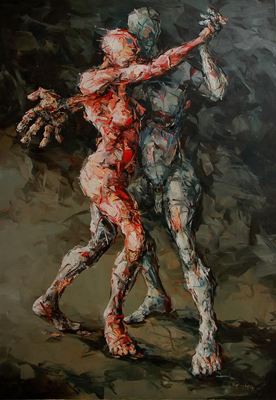 Im Tango verschlungenes Paar, Ölbild