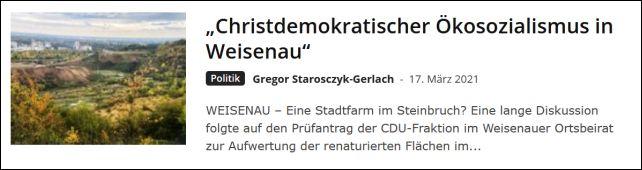"""""""Christdemokratischer Ökosozialismus in Weisenau"""""""