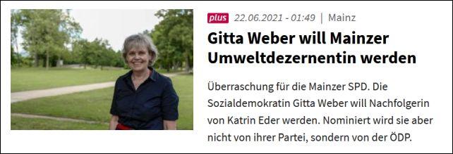 Gitta Weber will Mainzer Umweltdezernentin werden