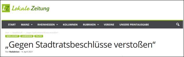 """""""Gegen Stadtratsbeschlüsse verstoßen"""""""
