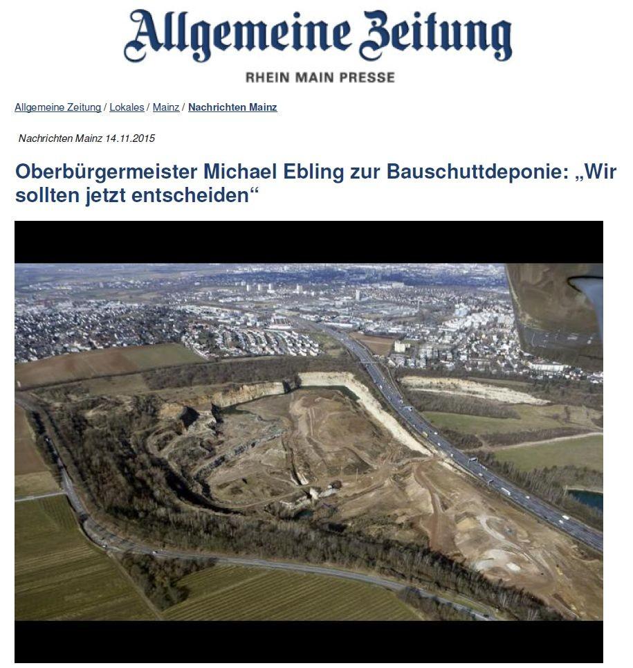 Über die Bauschuttdeponie in Weisenau wurde heftig gestritten. In absehbarer Zeit will Oberbürgermeister Michael Ebling hier ein Naherholungsgebiet sehen. Archivfoto: Sascha Kopp