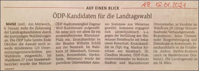 ÖDP-Kandidaten für die Landtagswahl