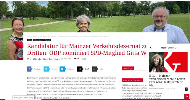 Kandidatur für Mainzer Verkehrsdezernat zum Dritten: ÖDP nominiert SPD-Mitglied Gitta Weber