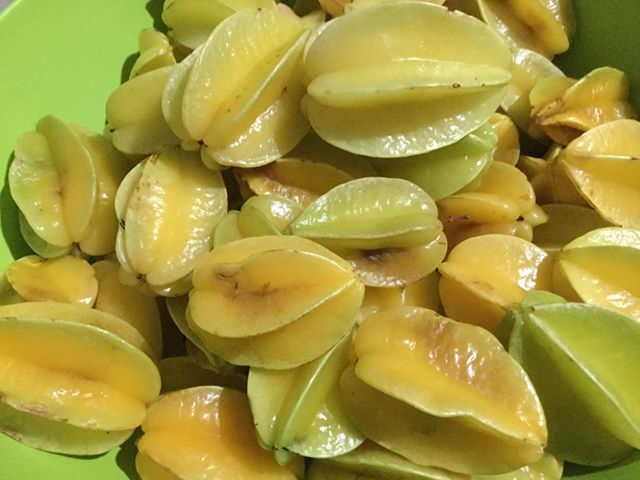日本では南国でのみ栽培されているかも?スターフルーツも園内で取れます。