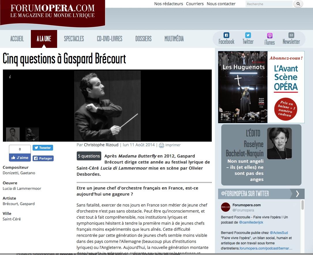 • Interview avec Christophe Rizoud, forumopera.com