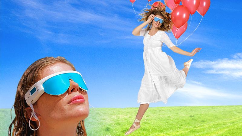 fille ballons rouges et fille lunette custom dans champs psio lumitherapie relaxotherapie