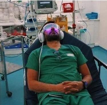 Personnel Urgences en récupération avec lunettes et casque PSIO