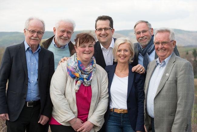 vlnr: Edelbert Müller, Günther Erb, Gabriele Braun, Nikolas Palmarini, Christine Messerschmidt-Steinbock, Reiner Niederberger, Friedrich Job