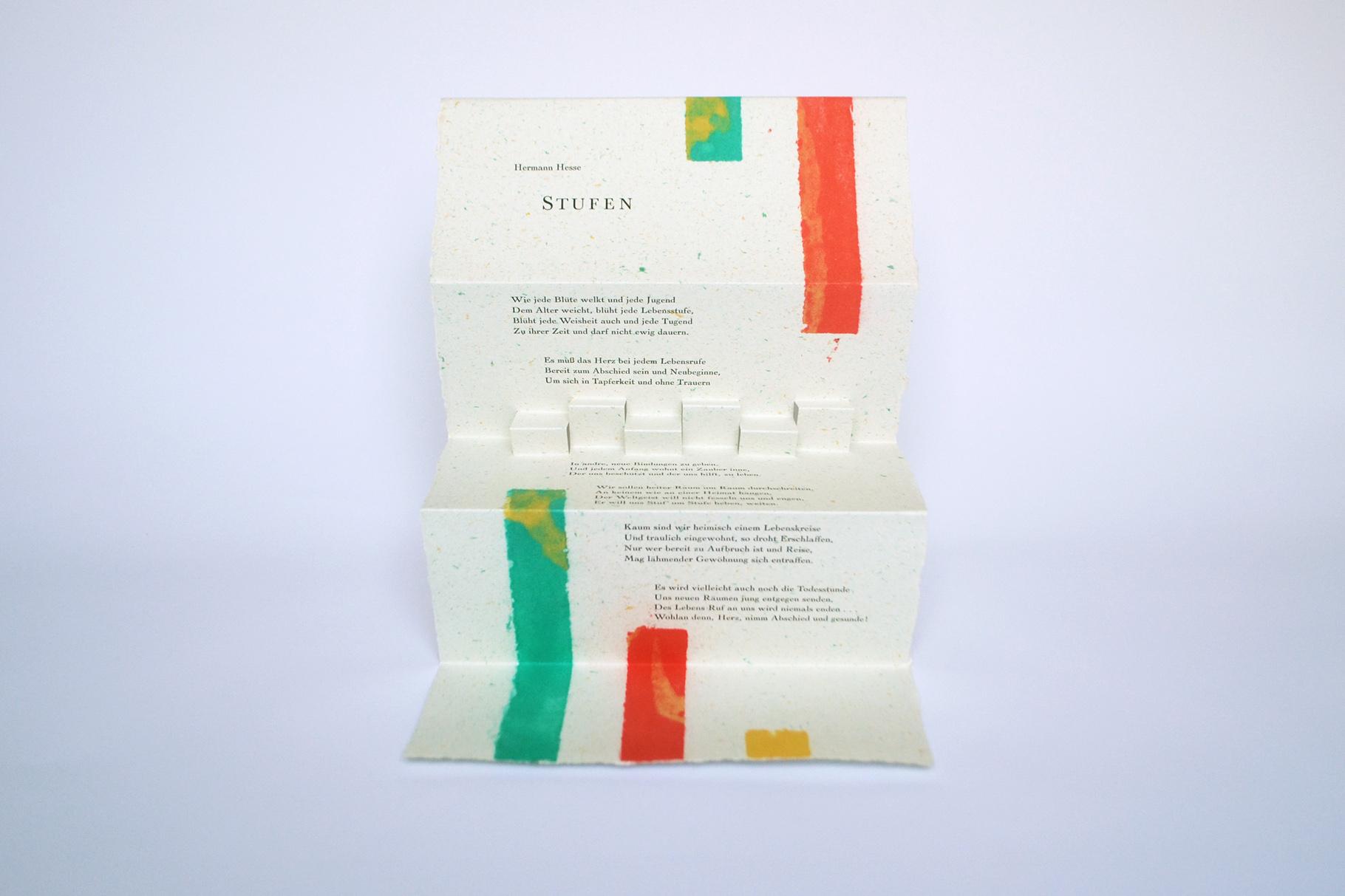 """""""Stufen"""" (2007) - Ein Heft, gestaltet von John Gerard mit einem Gedicht von Hermann Hesse"""