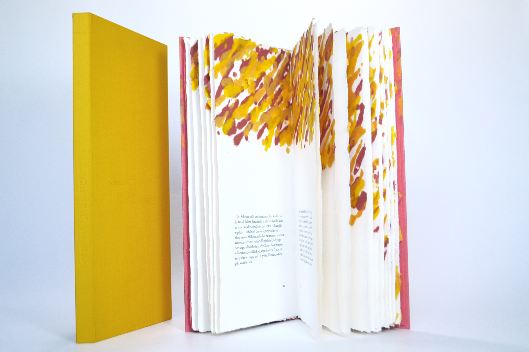 """""""Der Schmerz"""" (1999) - Ein Künstlerbuch, gestaltet von John Gerard mit 10 Papiergüssen zu einem Essay von Christa Wolf (Erstausgabe)"""