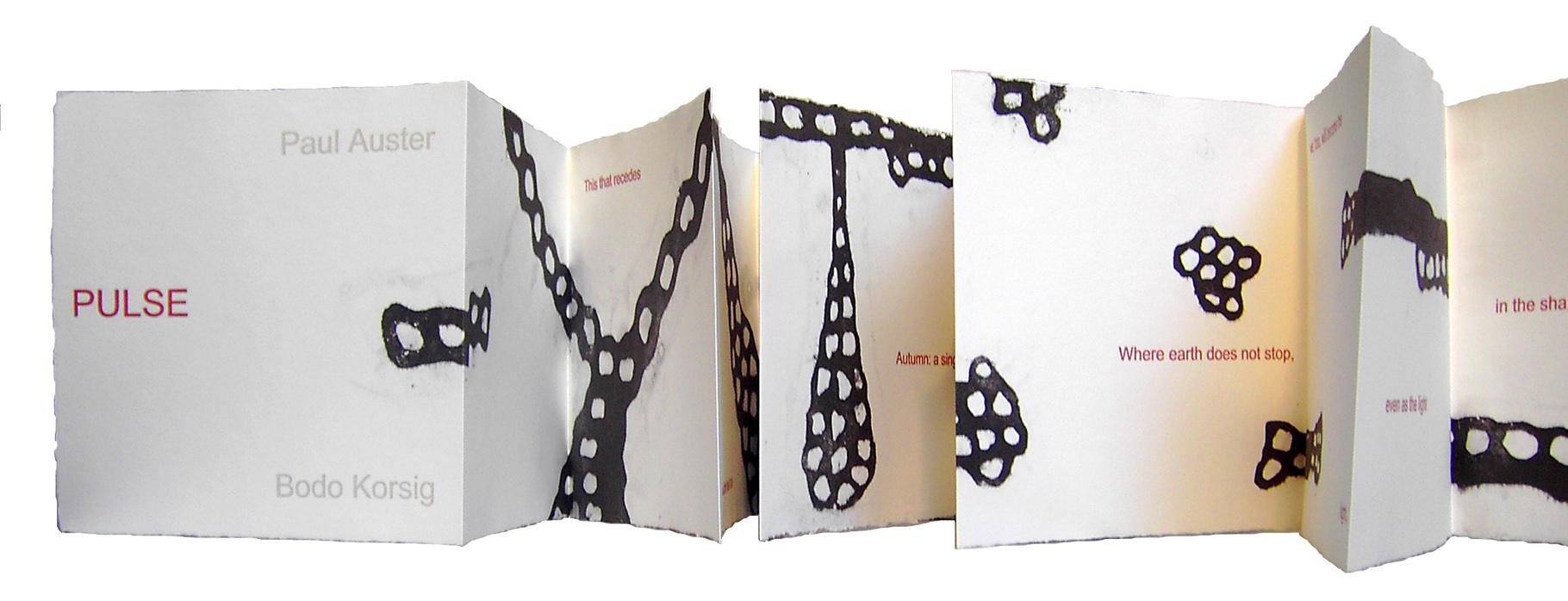 """""""Pulse"""" (2007) - Ein Künstlerbuch von Bodo Korsig mit einem Gedicht von Paul Auster, hergestellt von John Gerard"""