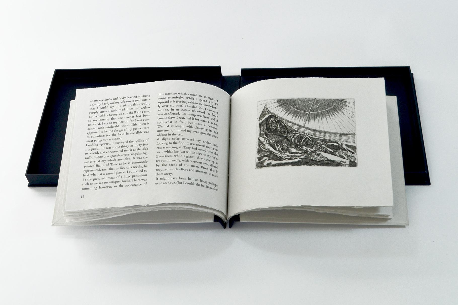 """""""The Pit and the Pendulum"""" (2005) - Ein Künstlerbuch mit einer Kurzgeschichte von Edgar Allan Poe und 12 Radierungen von Prof. Thomas Rug auf handgeschöpften Papieren von John Gerard"""