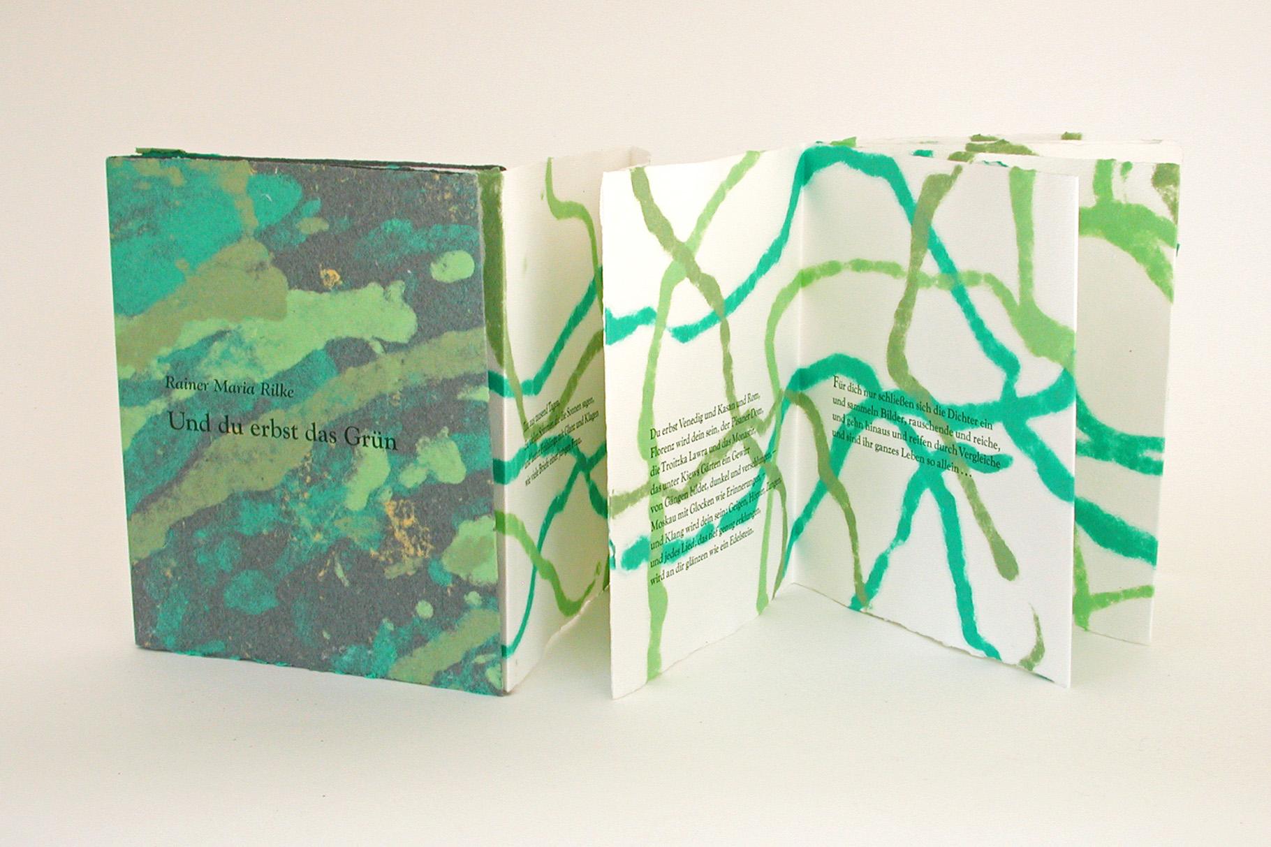 """""""Und du erbst das Grün"""" (2002) - Ein Künstlerbuch von John Gerard mit einem Gedicht von R. M. Rilke"""