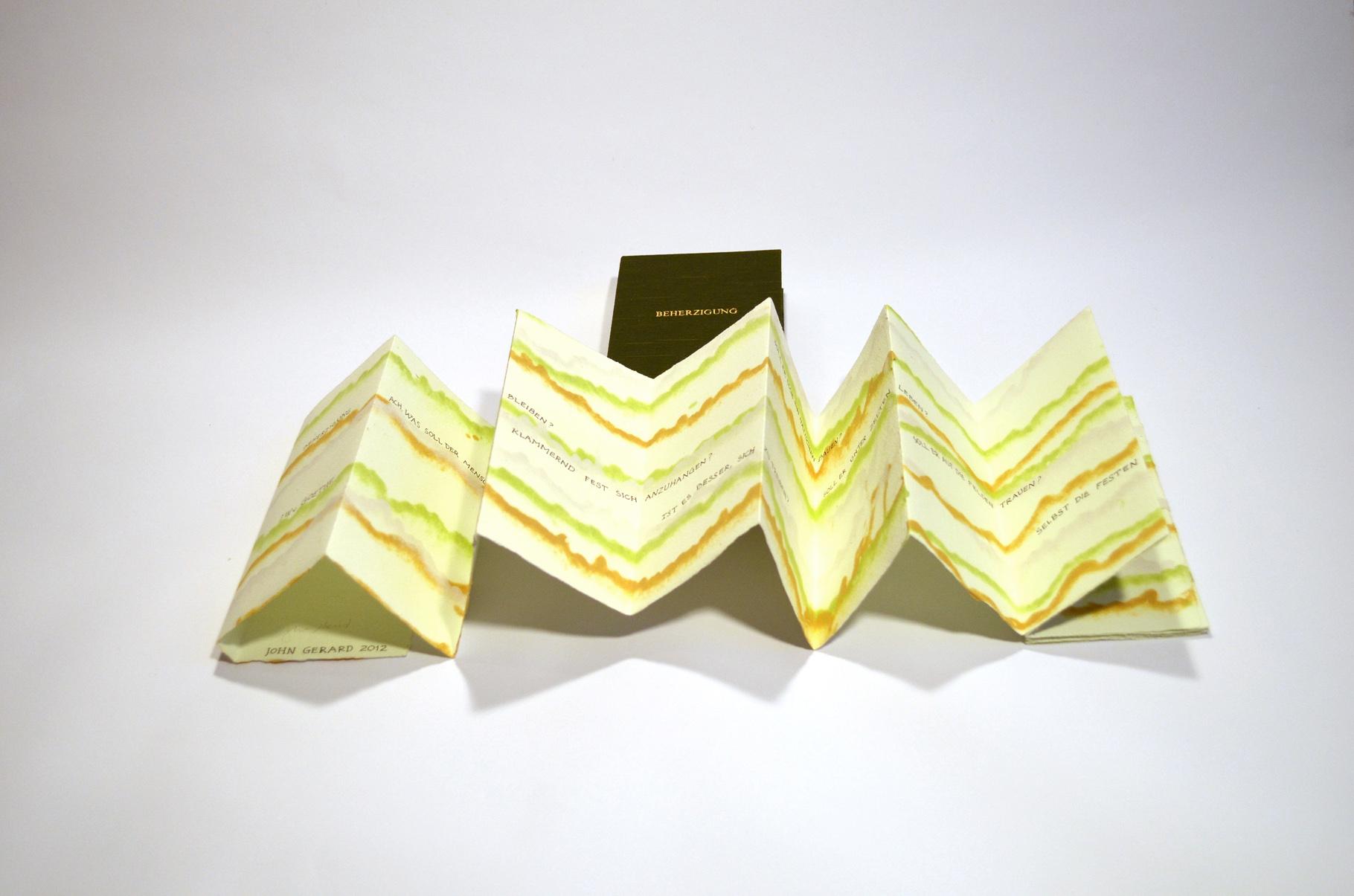 """""""Beherzigung"""" (2012) - Ein Künstlerbuch von John Gerard mit einem Gedicht von J. W. von Goethe"""