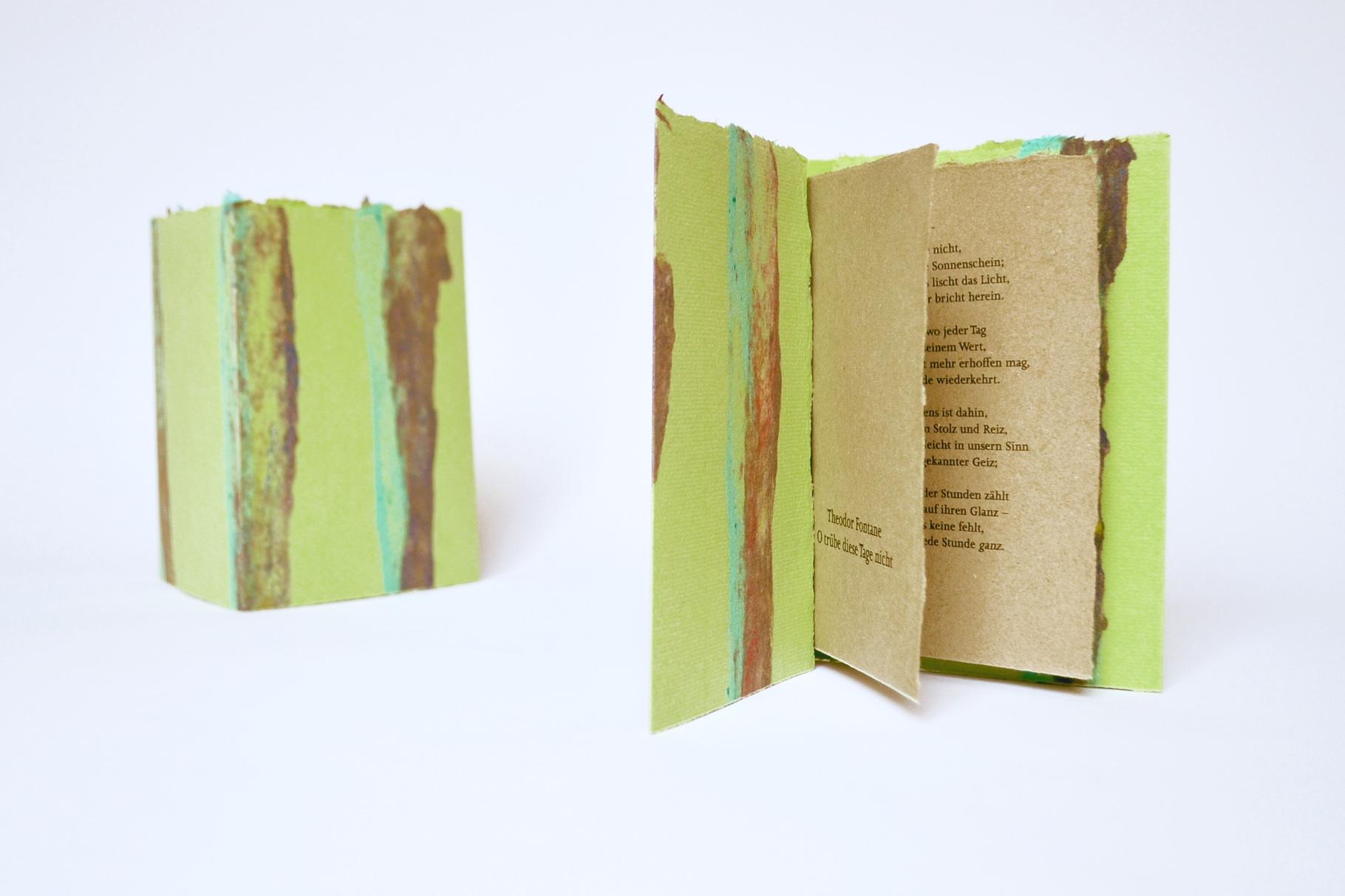 """""""O trübe diese Tage nicht"""" (2018) - Ein Heft, gestaltet von John Gerard mit einem Gedicht von Theodor Fontane"""