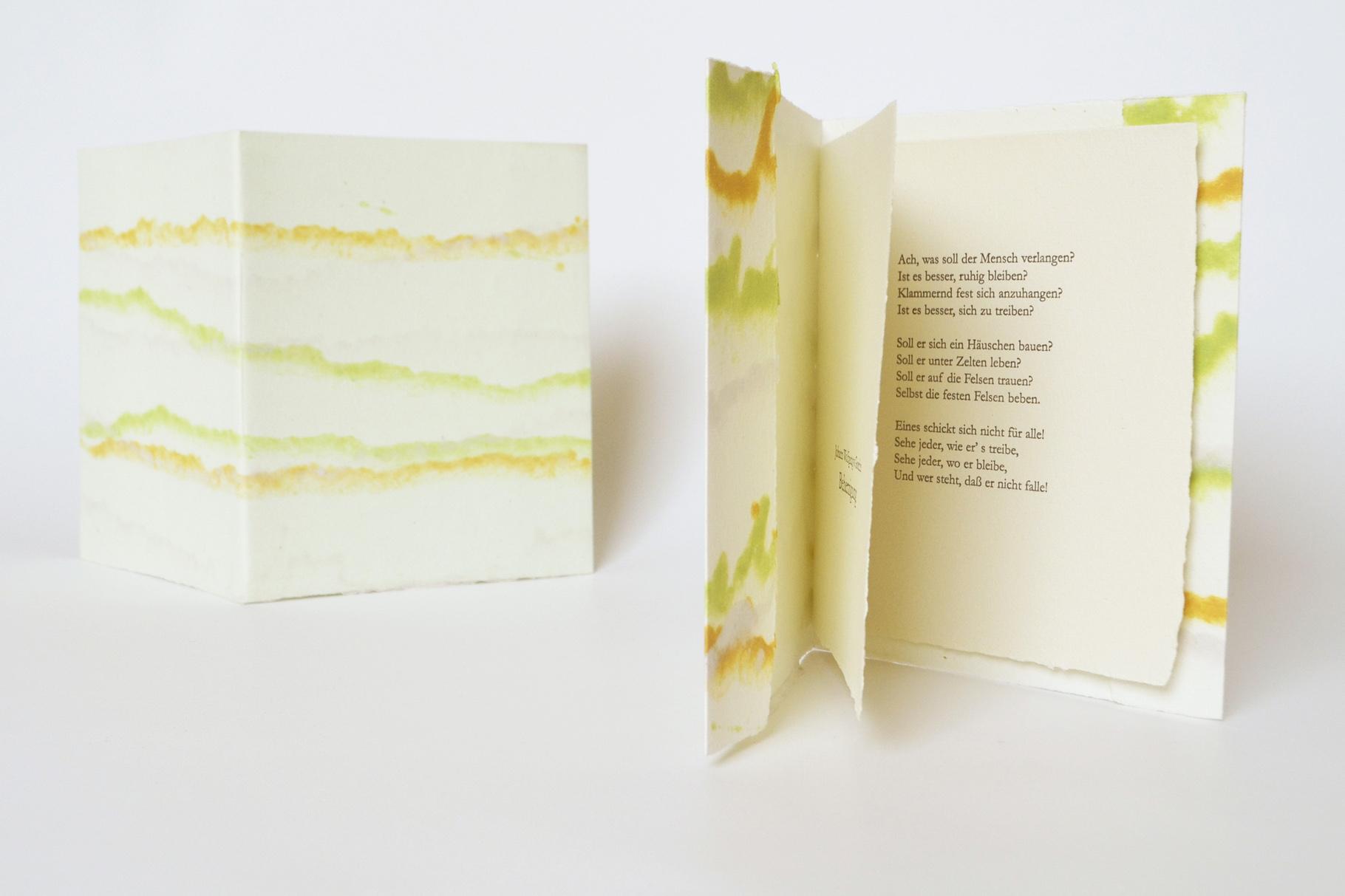 """""""Beherzigung"""" (2013) - Ein Heft, gestaltet von John Gerard mit einem Gedicht von Johann Wolfgang von Goethe"""