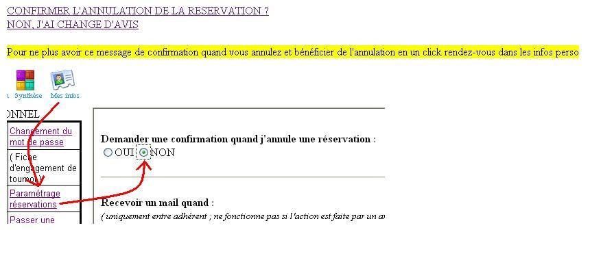 Il faut alors cliquer sur Confirmer l'annulation de la réservation