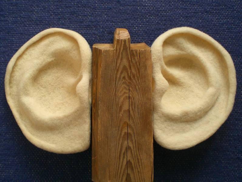 großes Ohrenobjekt Holzbalken, Schafwolle gefilzt ca. 50 x 70 x 20 cm