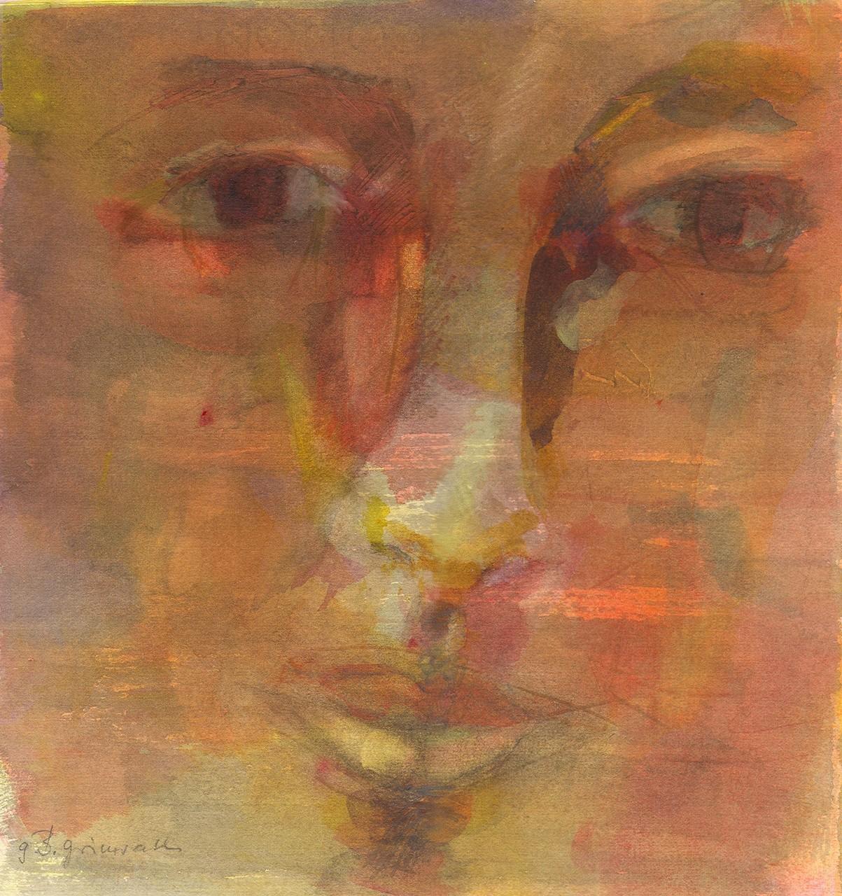 Augenblick, Aquarell und Stifte, 30 x 30 cm