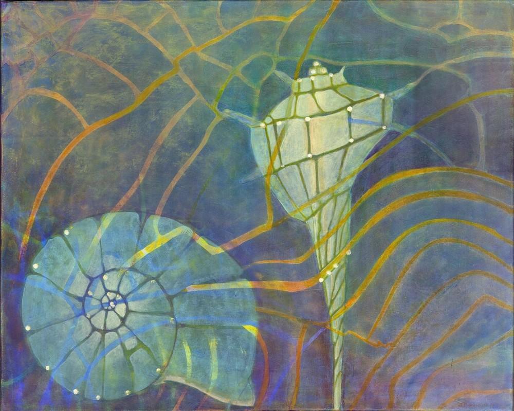 Muschelkalk, Acryl und farbige Tusche, 80 x 100 cm