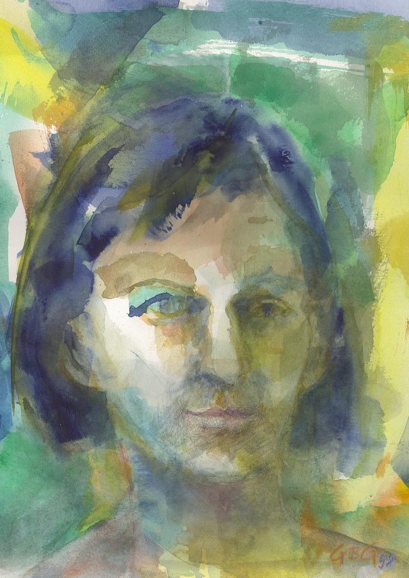 Selbstbildnis grün ca.30 x 40 cm Aquarell