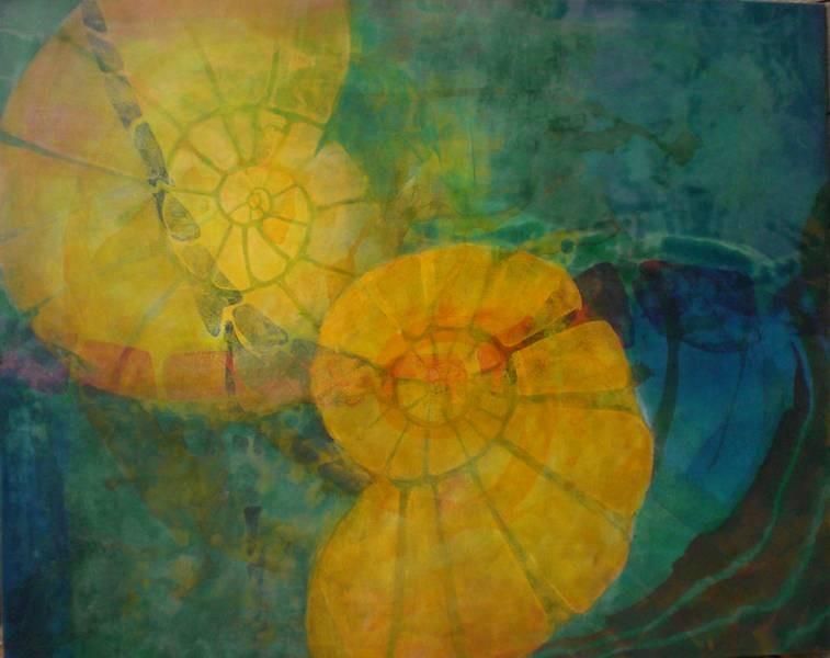 Doppelschnecke, Acryl, 80 x 100 cm