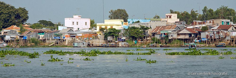 Dorpje aan de Mekong rivier