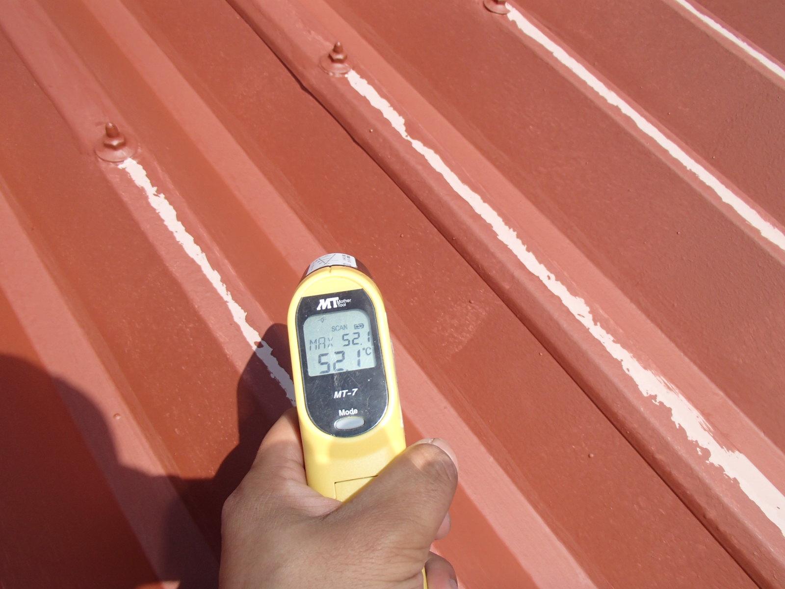熱交換塗料1度塗り後の温度52.1℃を記録