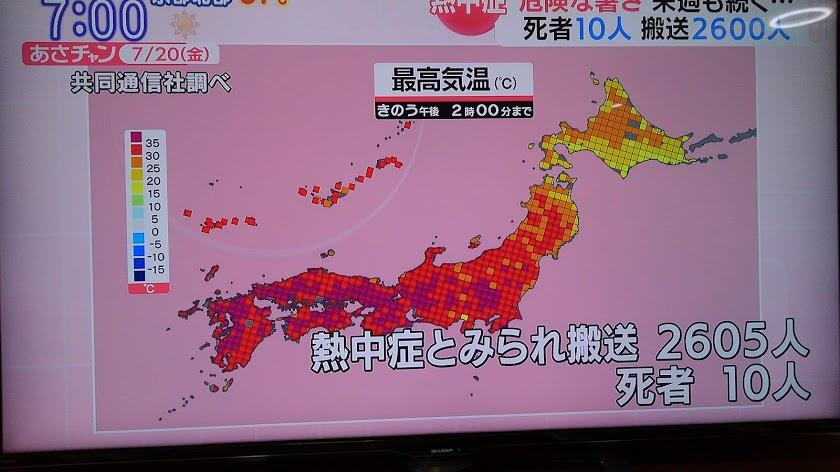 日本全国35℃以上の異常気温