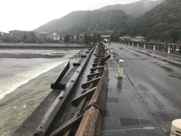 京都嵐山渡月橋 被害