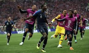 フランスの選手が得点を入れてベンチへ駆け寄る。ベンチメンバーも飛び出して喜ぶ