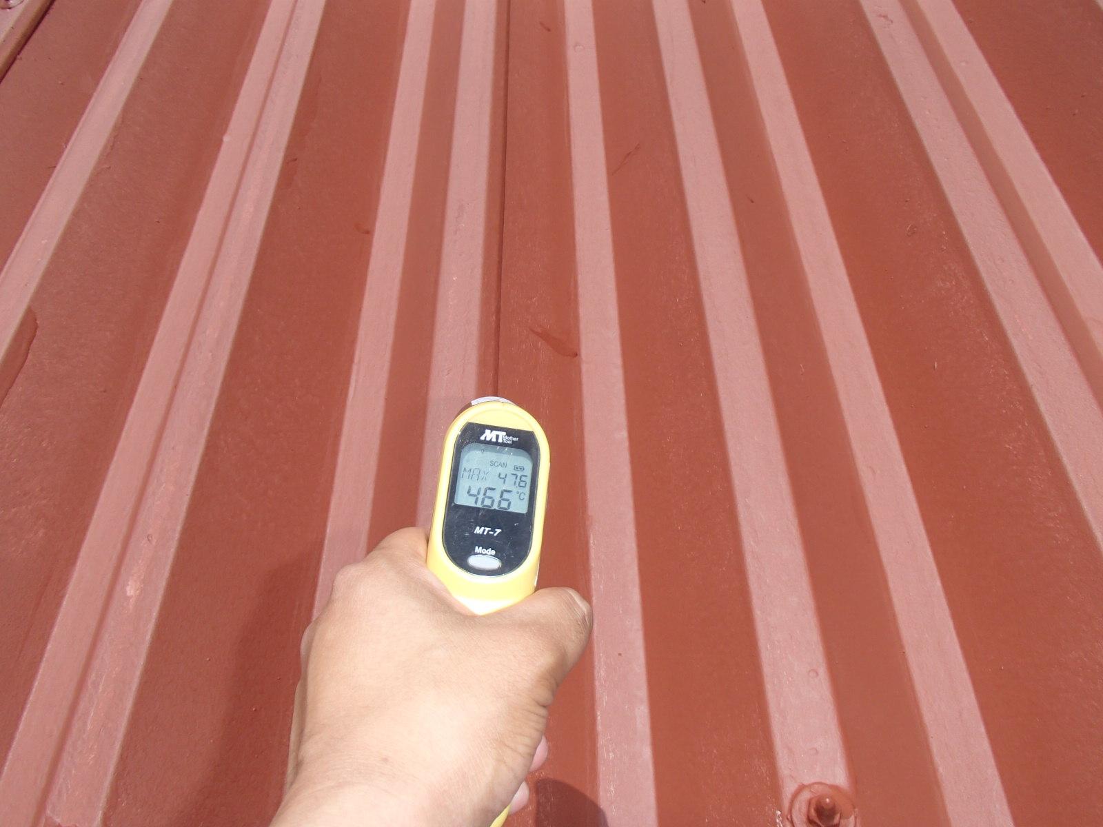 熱交換塗料2度塗り後の温度46.6℃を記録