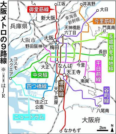 大阪メトロの9路線網を色分けで表示 列車の色も御堂筋は赤色で!