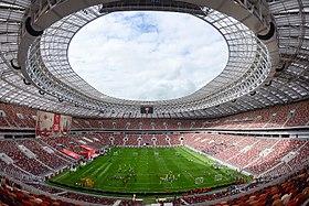 決勝戦のスタジアムを観客が取り囲み、世界のサッカーファンが電波を通して同時観戦