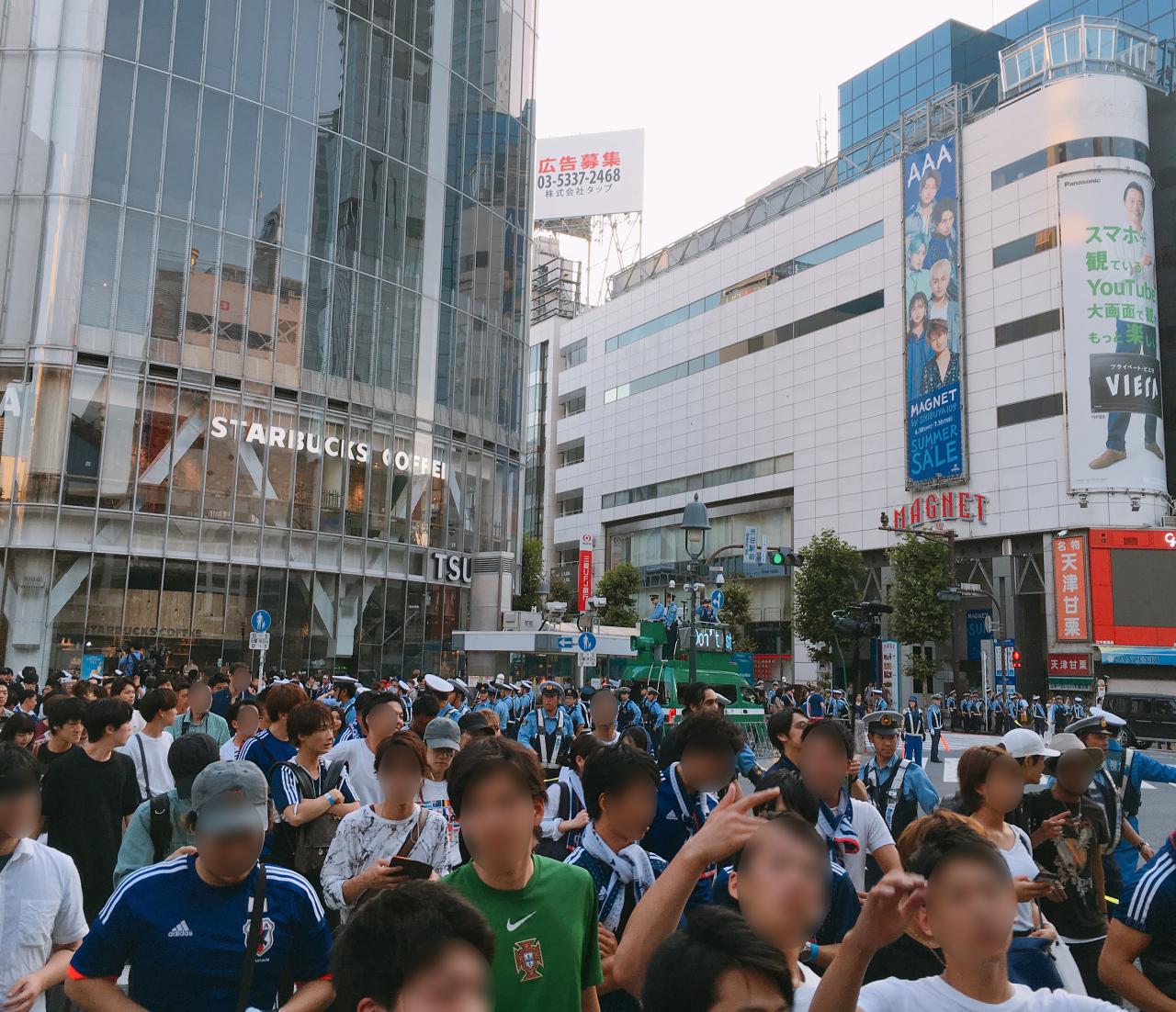 6月3日早朝の渋谷スクランブル交差点 騒ぐこともなく職場や家路に散っていった。