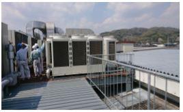 工場屋根 空調室外機