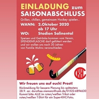 SAVE THE DATE! KHC-SAISONABSCHLUSS AM 2. OKTOBER