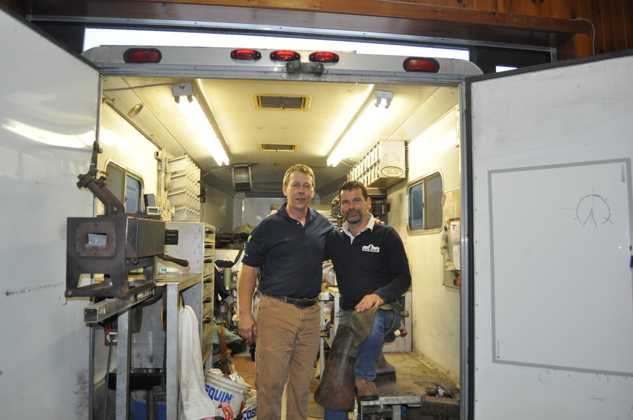 me and Doug Anderson in his Shoeing Rig.