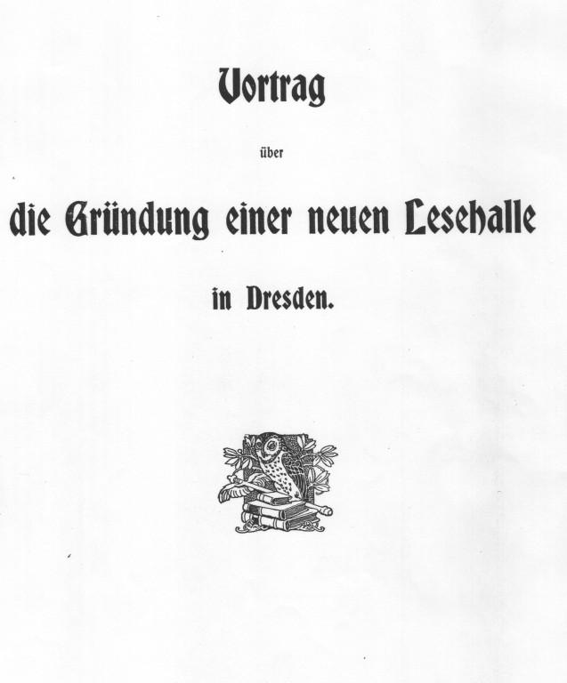 Lingners Schrift über die Gründung der Lesehalle