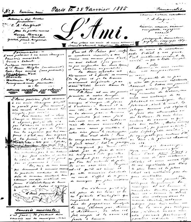Musikzeitschrift Lingners, Paris 1885