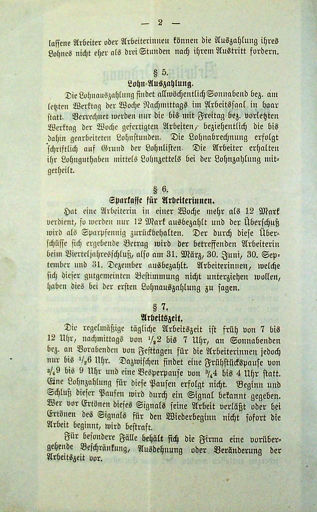 Arbeitsordnung des Dresdner Chemischen Laboratoriums Lingner von 1893