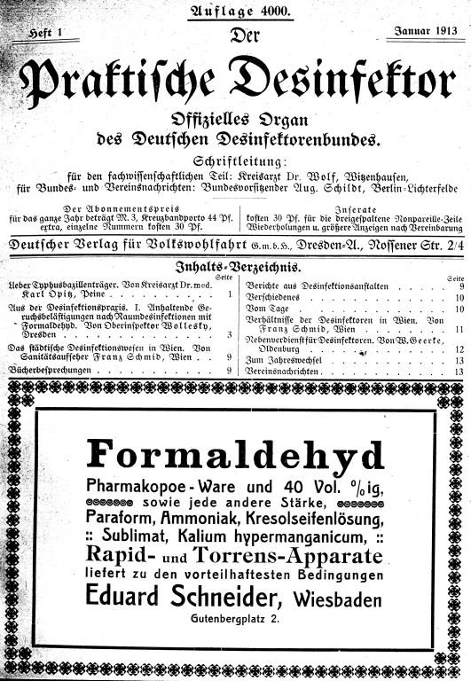 """Die von Lingner begründete Zeitschrift """"Der praktische Desinfektor"""""""