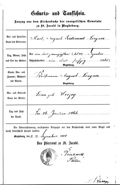 Geburts -und Taufschein von K.A.Lingner