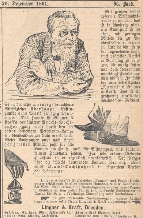Reklame für den Stiefelknecht von Lingner & Kraft