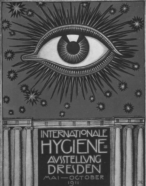 """Franz von Stuck entwarf das """"Hygiene-Auge"""" für die Internationale Hygiene Ausstellung (IHA) 1911"""