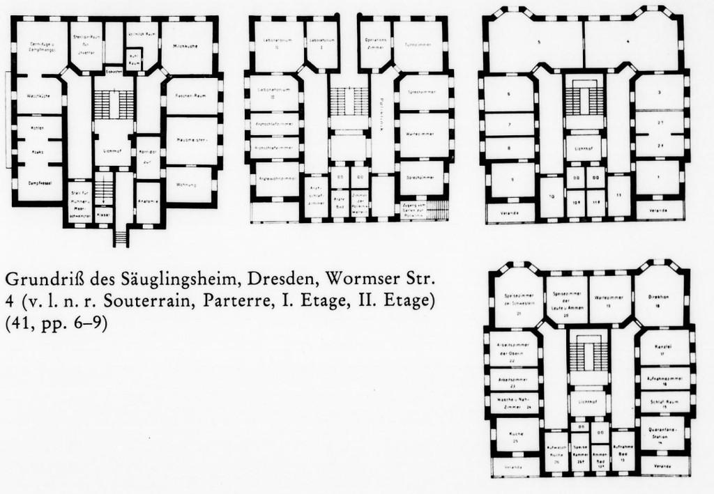 Grundriss der Kinderpoliklinik mit Säuglingsheim (Wormser Str.)