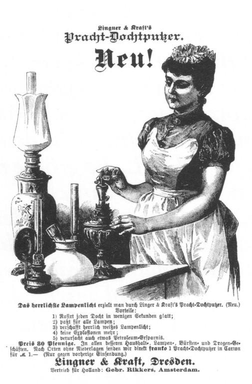 Reklame für Dochtputzer